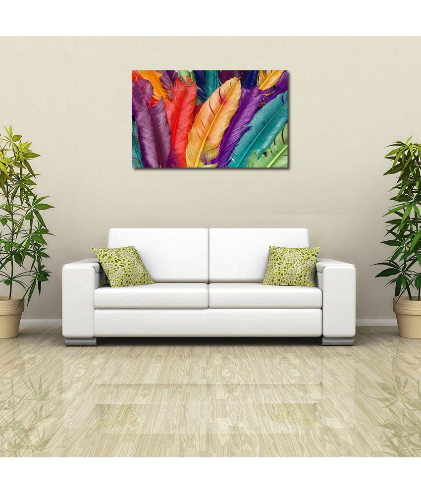 999Store Bird Feathers Printed Modern Wall Art Painting - Large Size