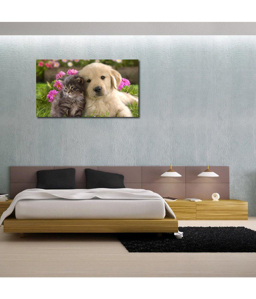 999Store Cute Dog With Cat Printed Modern Wall Art Painting - Large Size