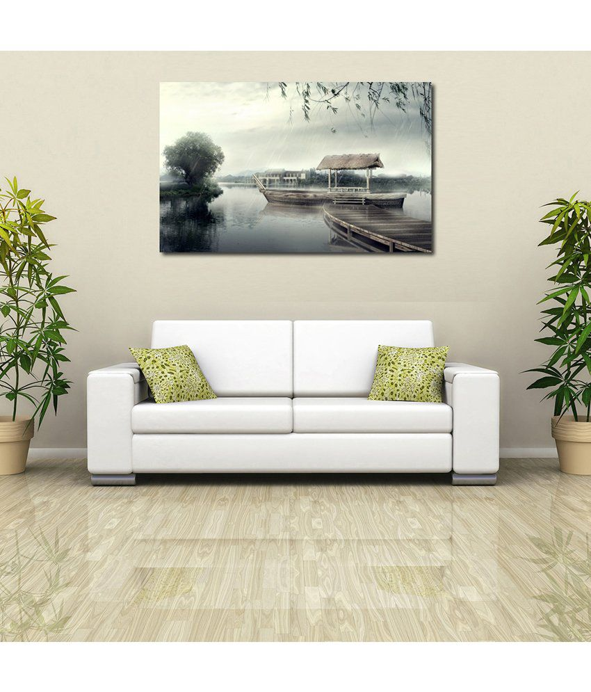 999Store River Boat Printed Modern Wall Art Painting - Large Size