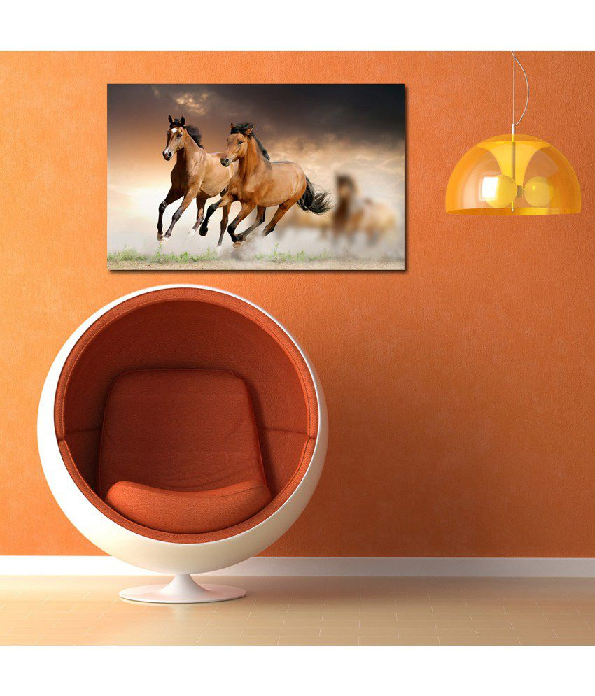 999Store Running Horses Printed Modern Wall Art Painting - Large Size