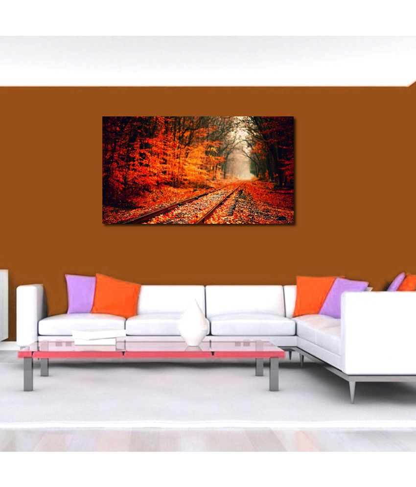 999Store Train Track In The Forest Printed Modern Wall Art Painting - Large Size