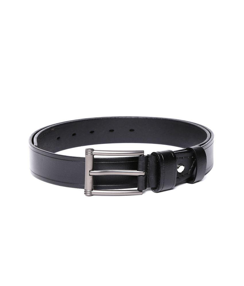 Addons Black Leather Casual Belt For Men