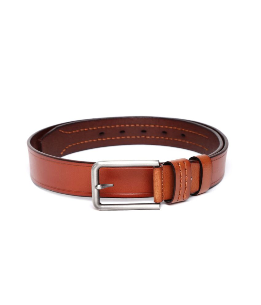 Addons Tan Leather Casual Belt For Men