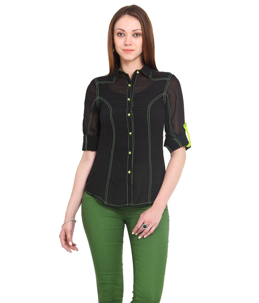 La Arista Black Coloured Polyester Shirt