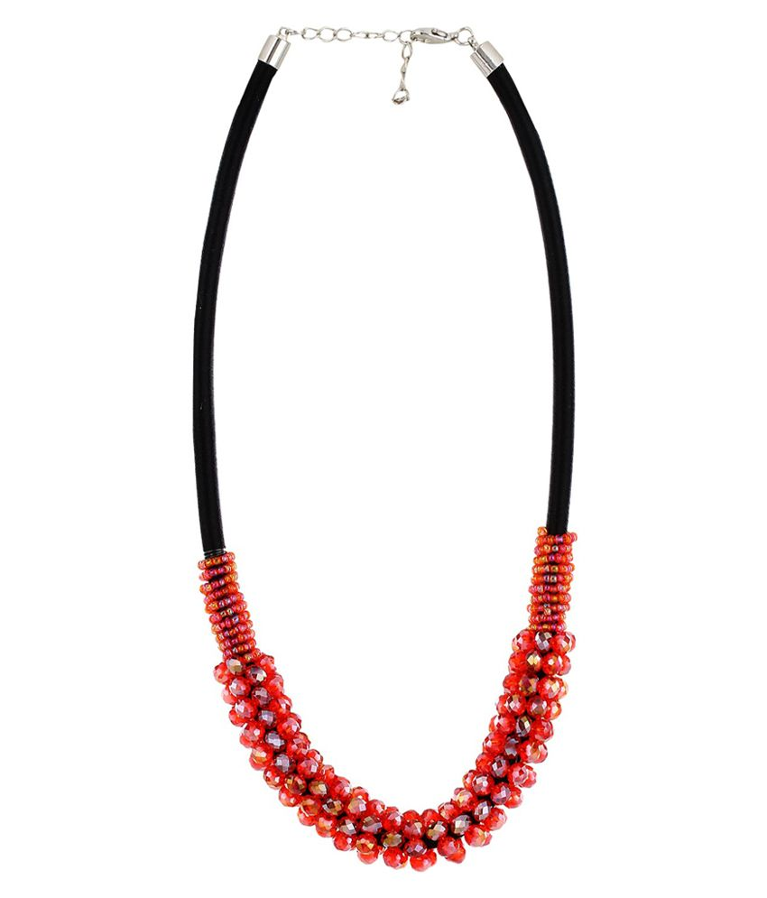Moedbuille Red Stone Encrusted Designer Necklace