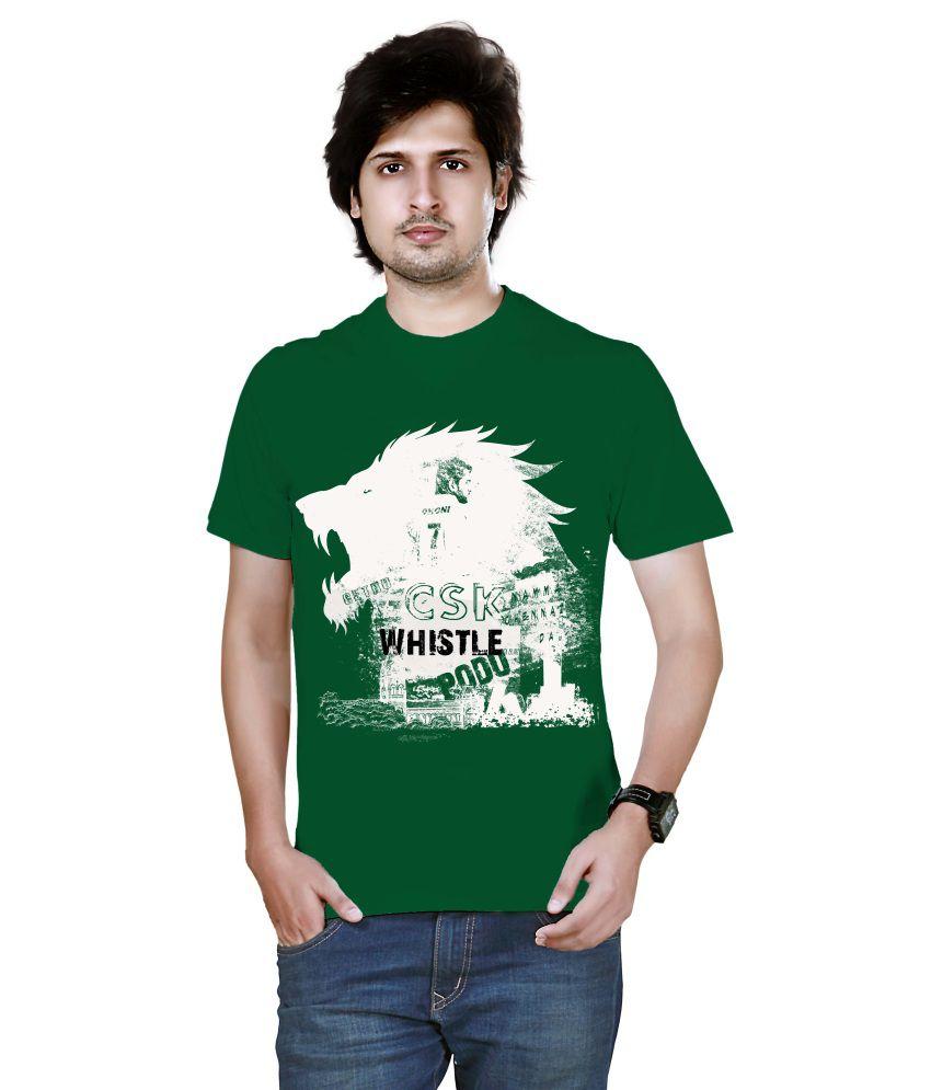Nesco Green Cotton Round Neck T Shirt