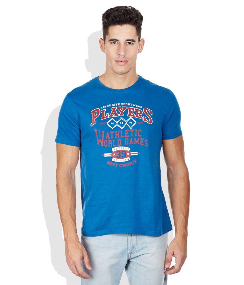 Bossini Blue Printed Round Neck T-Shirt