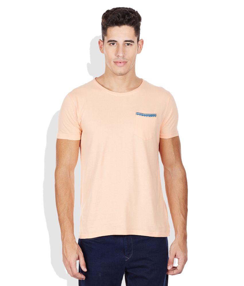 Bossini Peach Solid Round Neck T-Shirt
