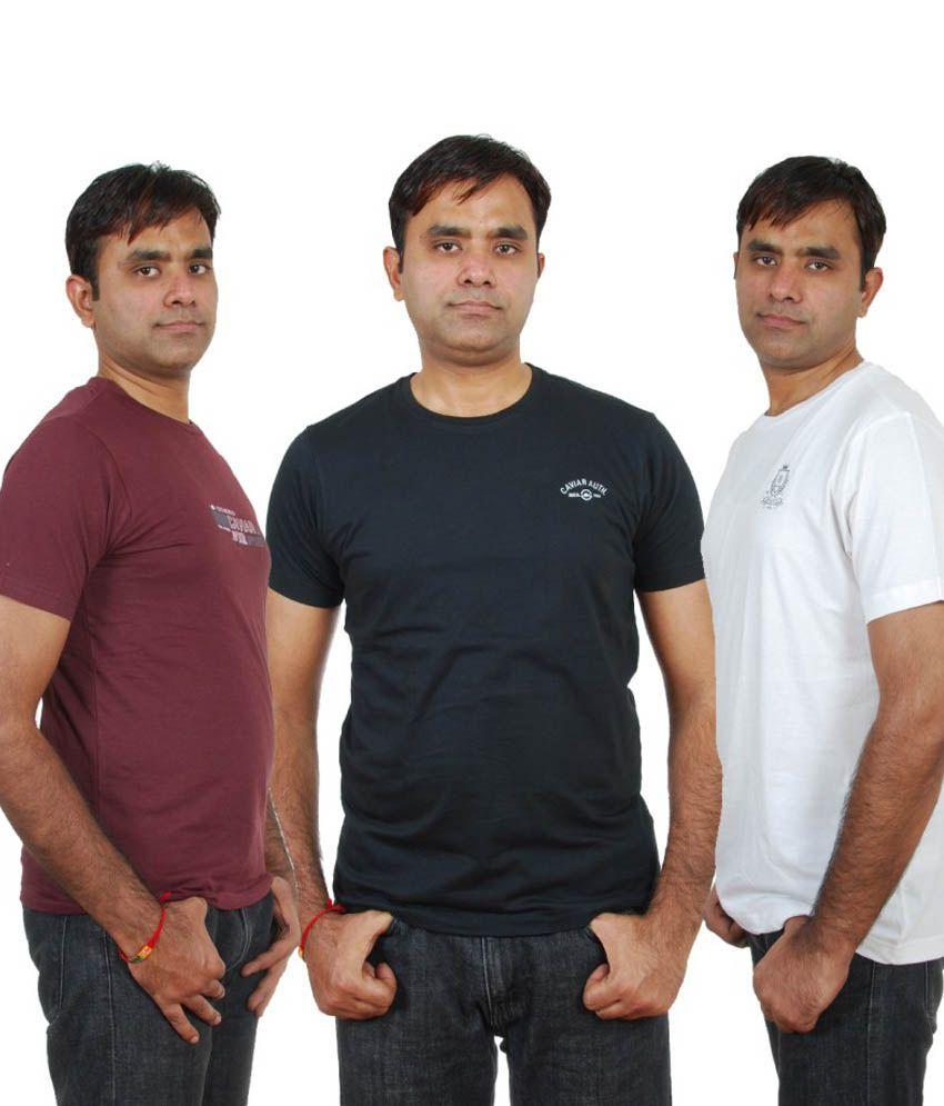 Cavier Cotton Round Neck T Shirt For Men - Set Of 3