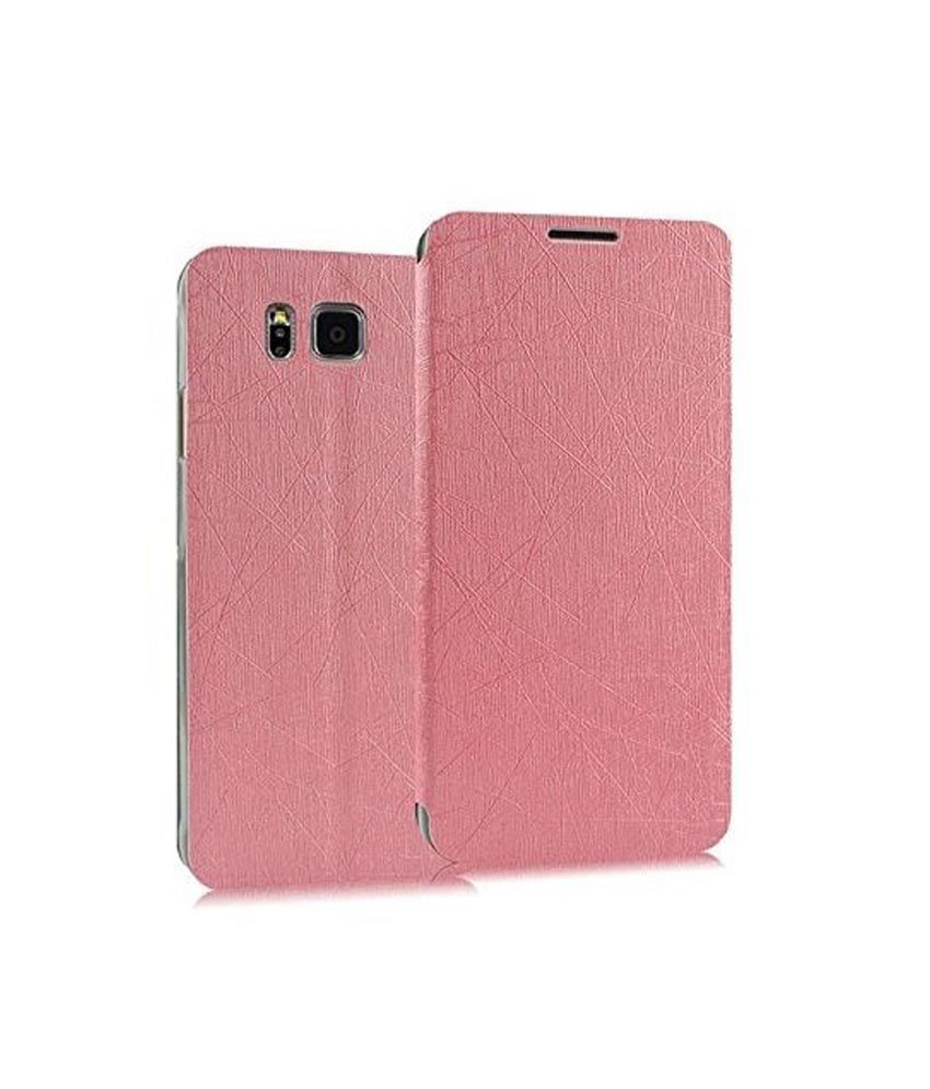 Heartly Premium Luxury PU Leather Flip Stand Back Cover For Samsung Galaxy Alpha 4G SM-G850FQ - Cute Pink