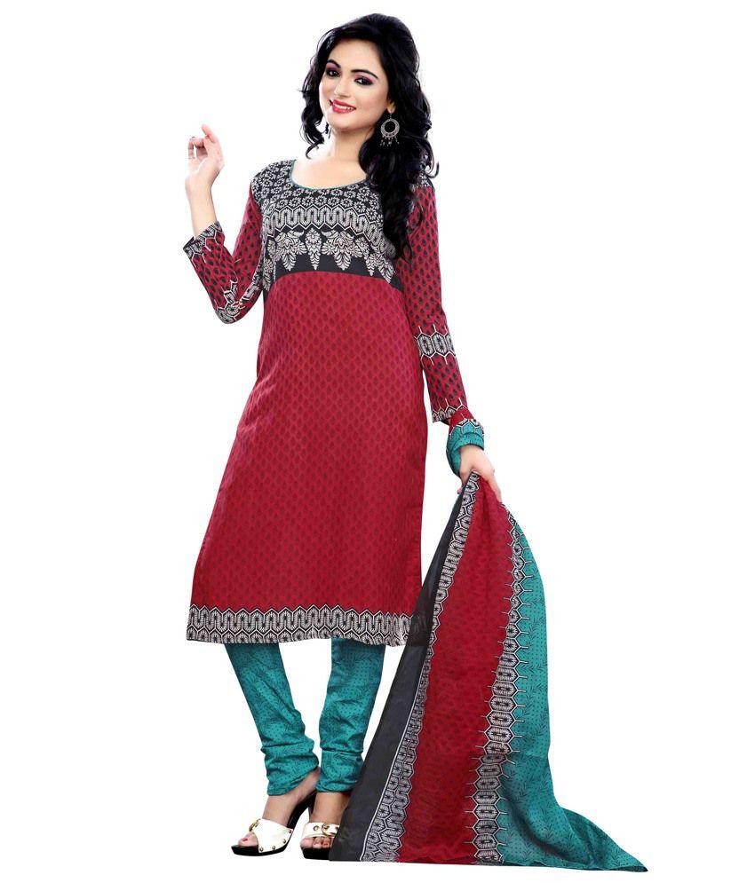 Krisha Print Red Cotton Printed Dress Material