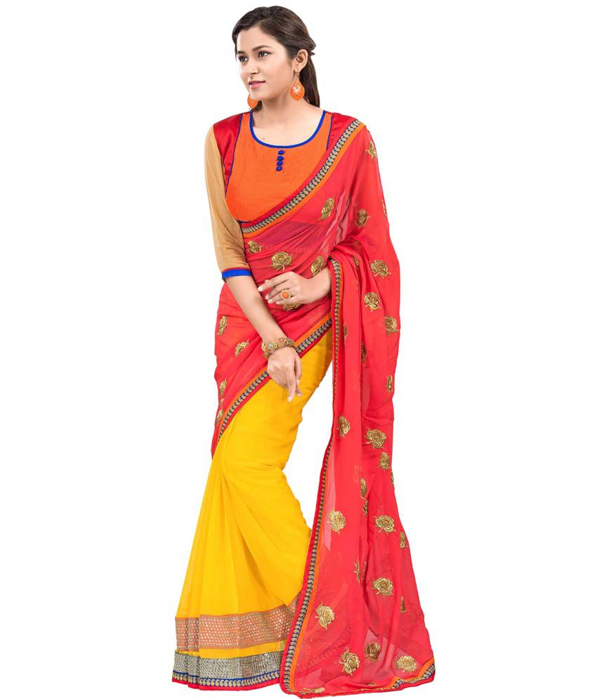 6660b2226 Lovely Collection Multi Color Pure Georgette Embroidered Saree With Blouse  Piece - Buy Lovely Collection Multi Color Pure Georgette Embroidered Saree  With ...