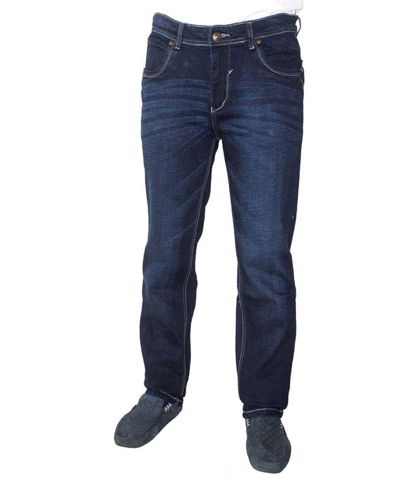 Nsum Blue Cotton Blend Regular Jeans For Men