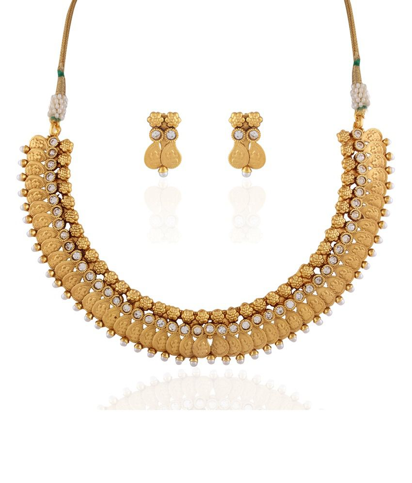 Accessher Antique Golden Traditional Necklace Set