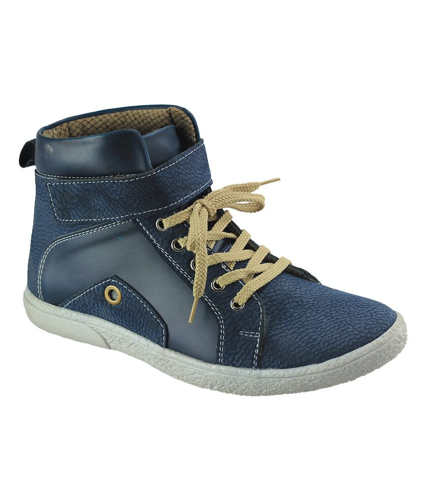 Dziner Blue Faux Leather Boots For Men