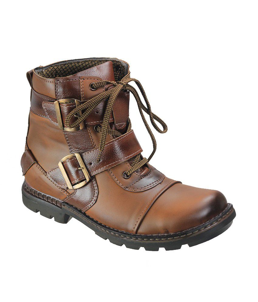 Dziner Tan Faux Leather Boots For Men
