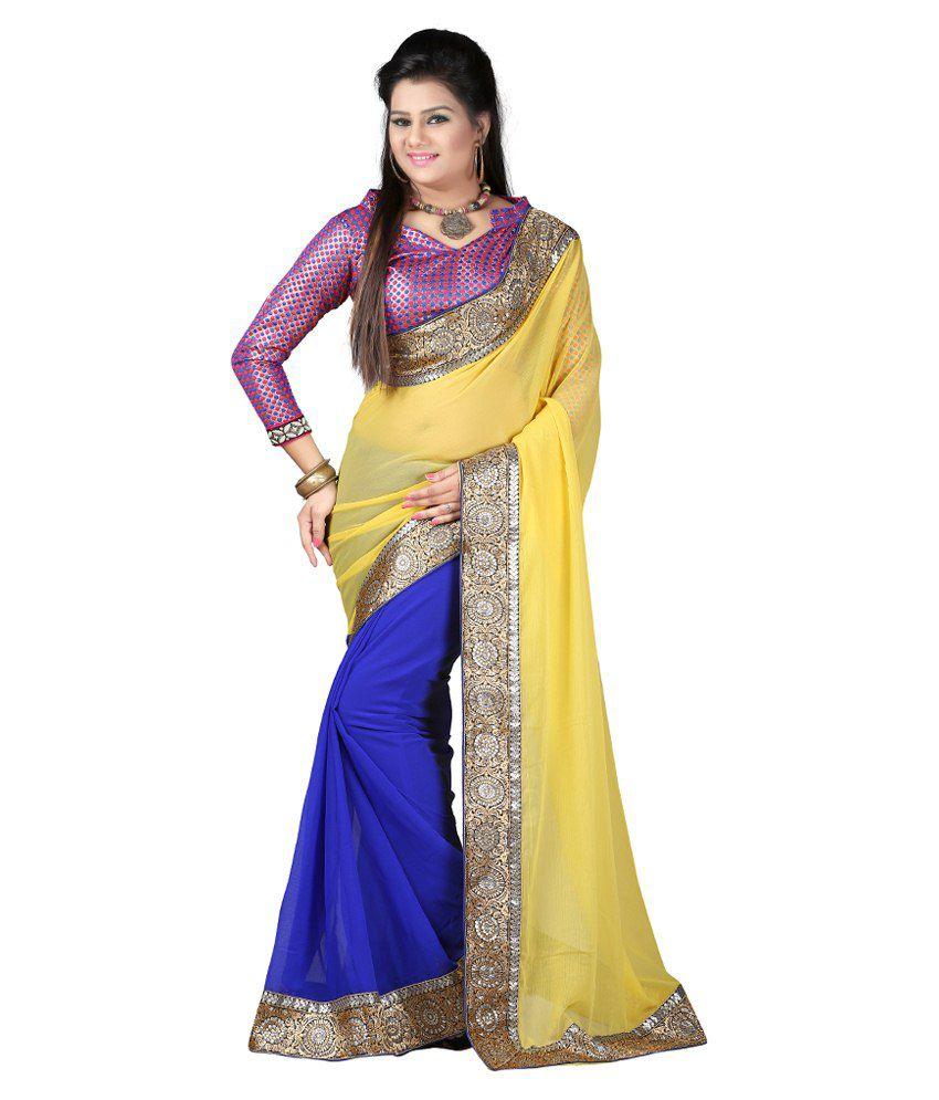 Indian House Yellow Semi Chiffon Saree With Blouse Piece