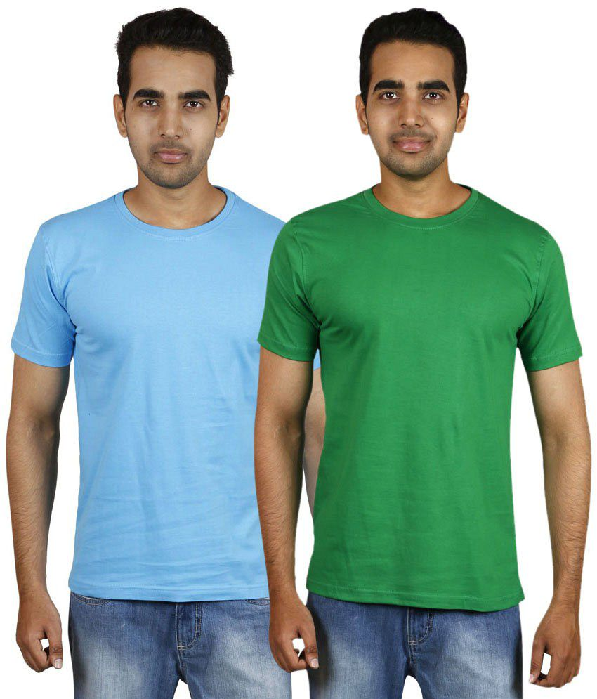 Meedo Combo of Blue & Green Round Neck T-Shirts