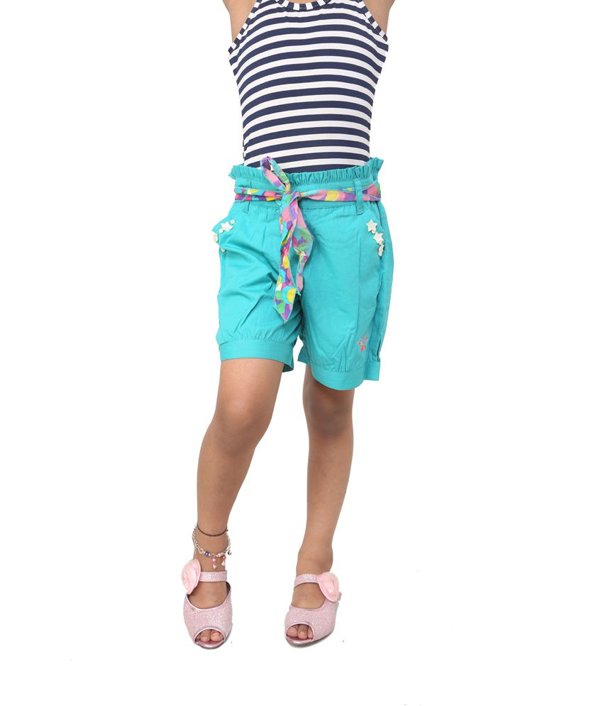 Riya N Zoe Turquoise Cotton Solids Shorts