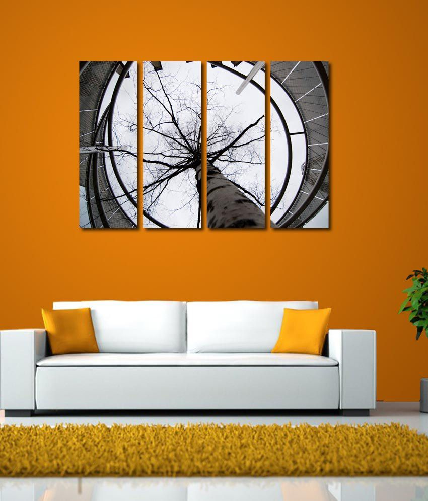 999store Glossy Printed Flowers Like Modern Wall Art Painting With Frame - 4 Frames