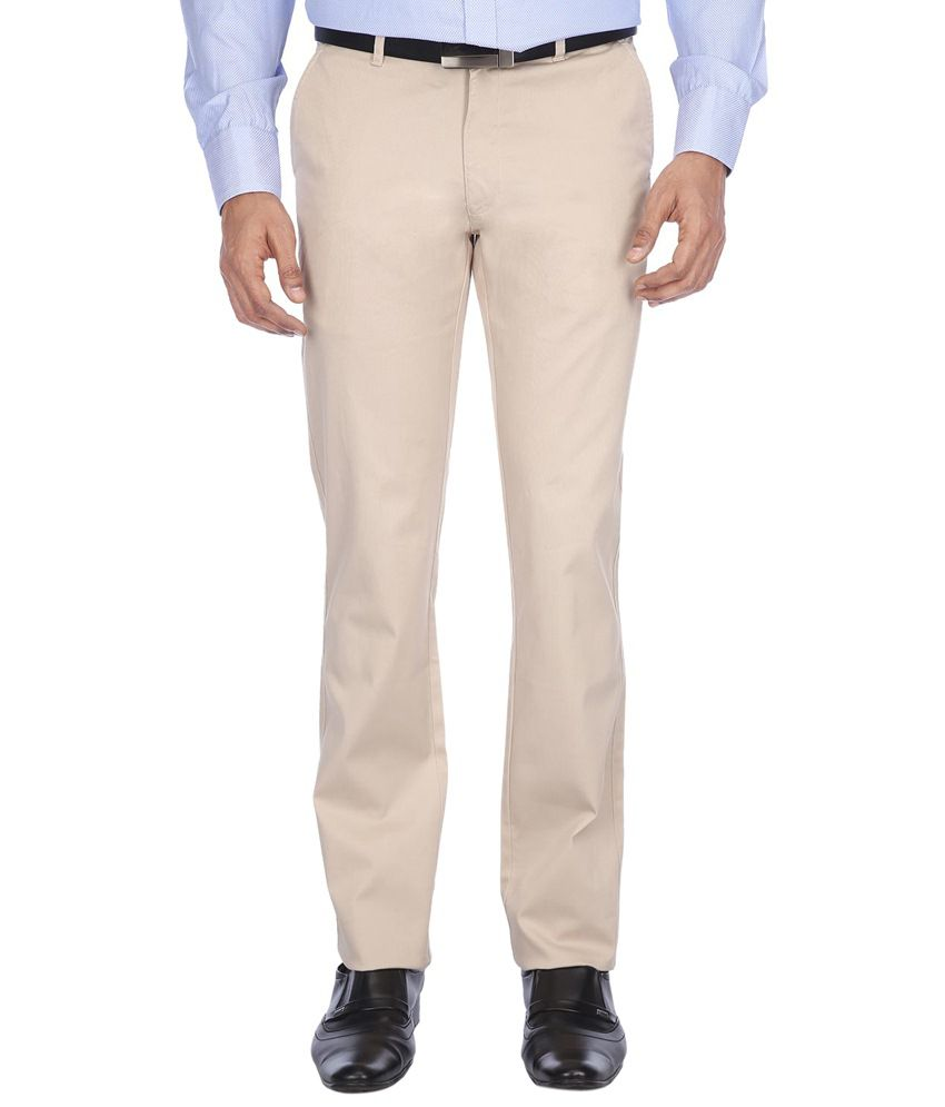 Vettorio Fratini By Shoppers Stop Smart Off White Formal Flat Front Trousers
