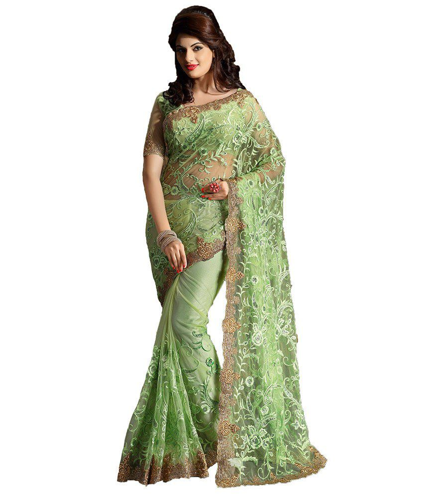 Zemi Green Embroidered Net Saree With Blouse Piece