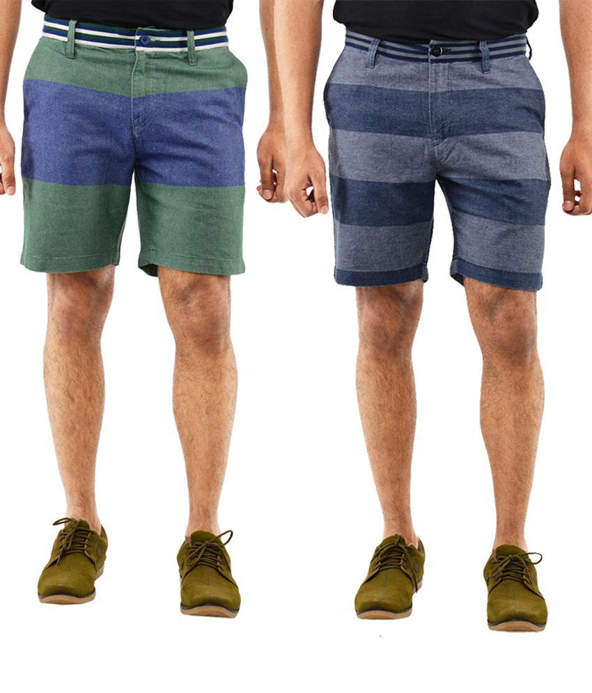 Blue Wave Cheerful Pack Of 2 Blue & Green Shorts