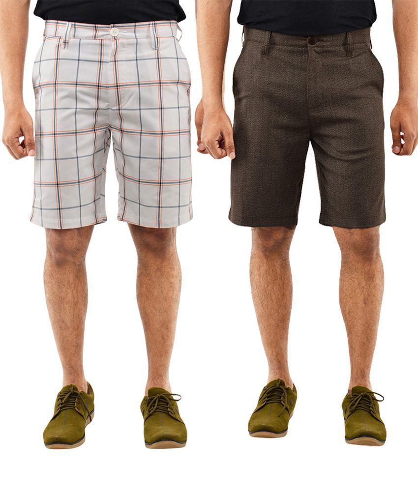 Blue Wave Conventional Pack Of 2 Off White & Brown Shorts