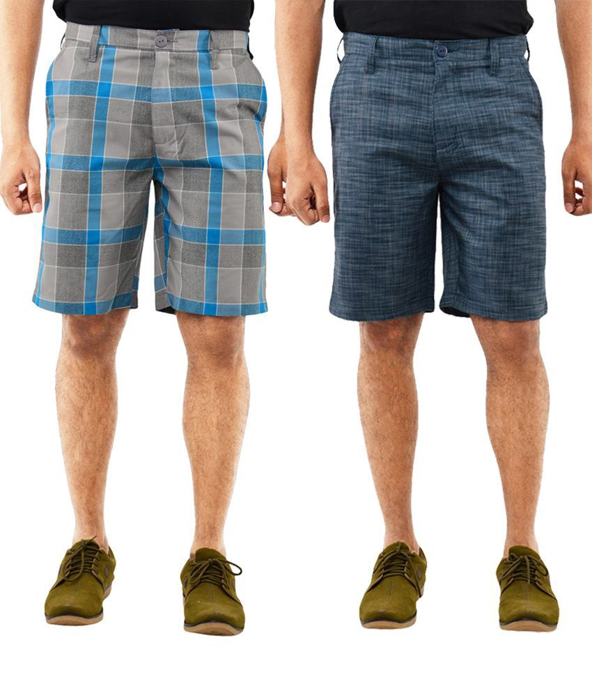 Blue Wave Lightweight Pack Of 2 Blue & Gray Shorts