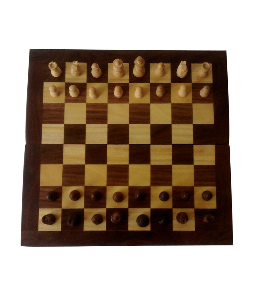 Little Knick Knacks Brown Foldable and Durable Wooden Chess Board