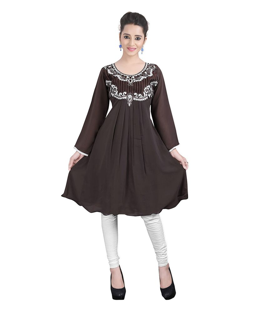 Lookslady Gray Embroidered Georgette Round Neck Kurti