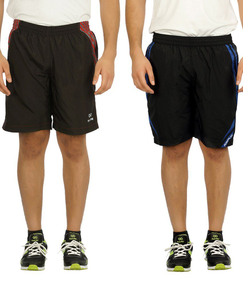Pure Play Excellent Pack Of 2 Black Polyester Running Shorts