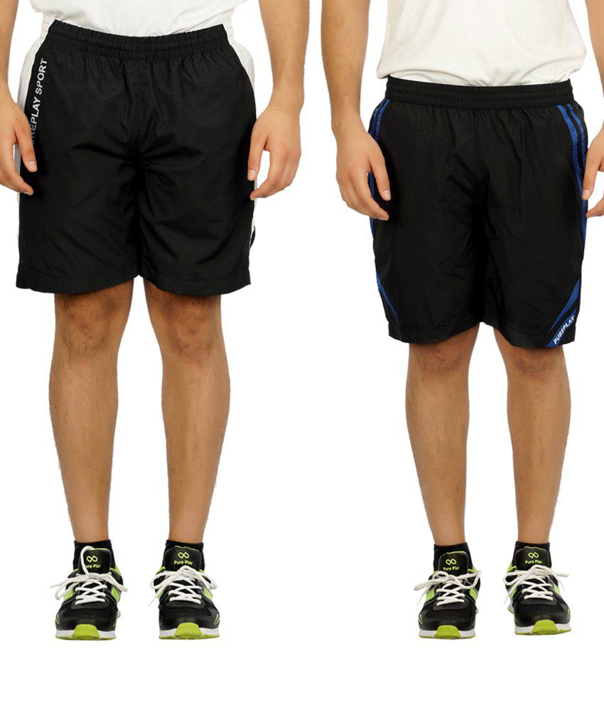 Pure Play Flawless Pack Of 2 Black Running Shorts