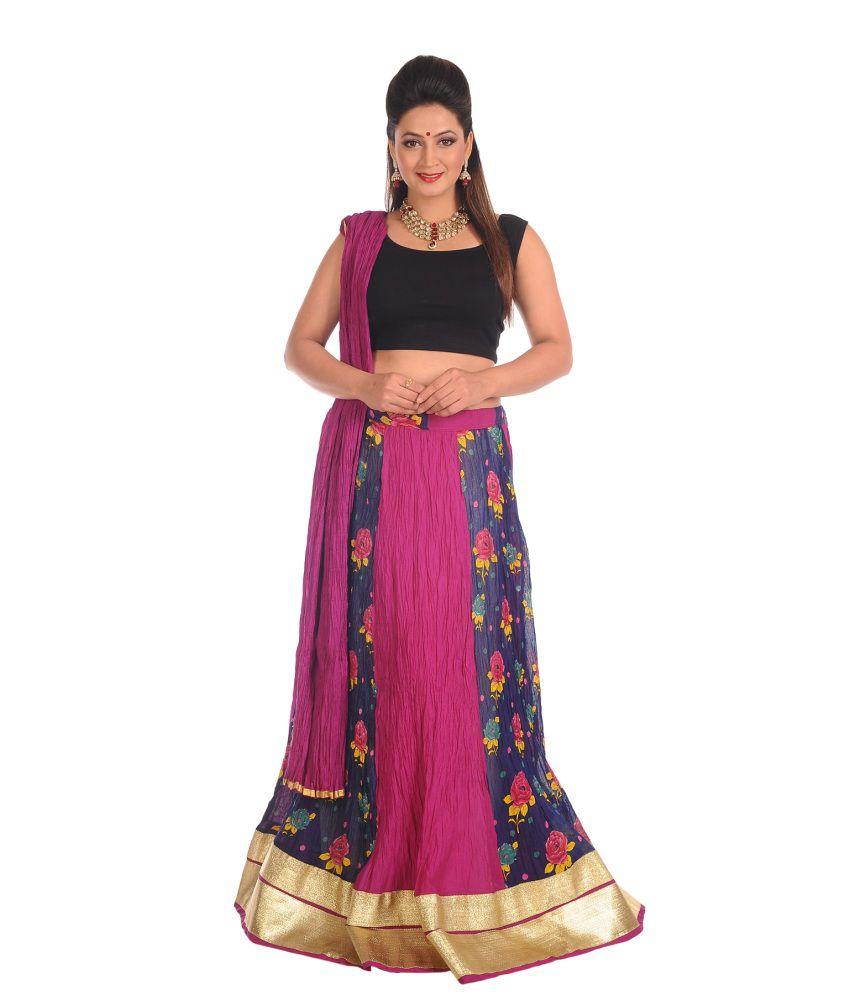 Salwar Studio Floral Cotton Long Skirt With Dupatta