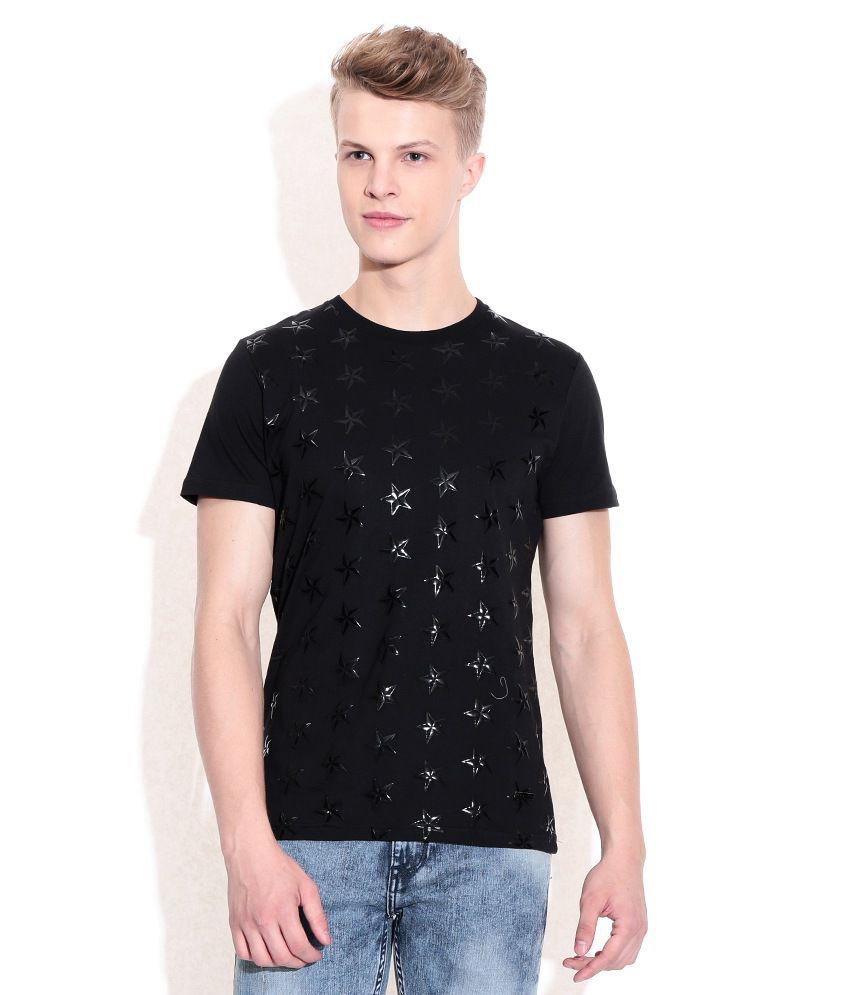 Sisley Black Printed Round Neck T-Shirt