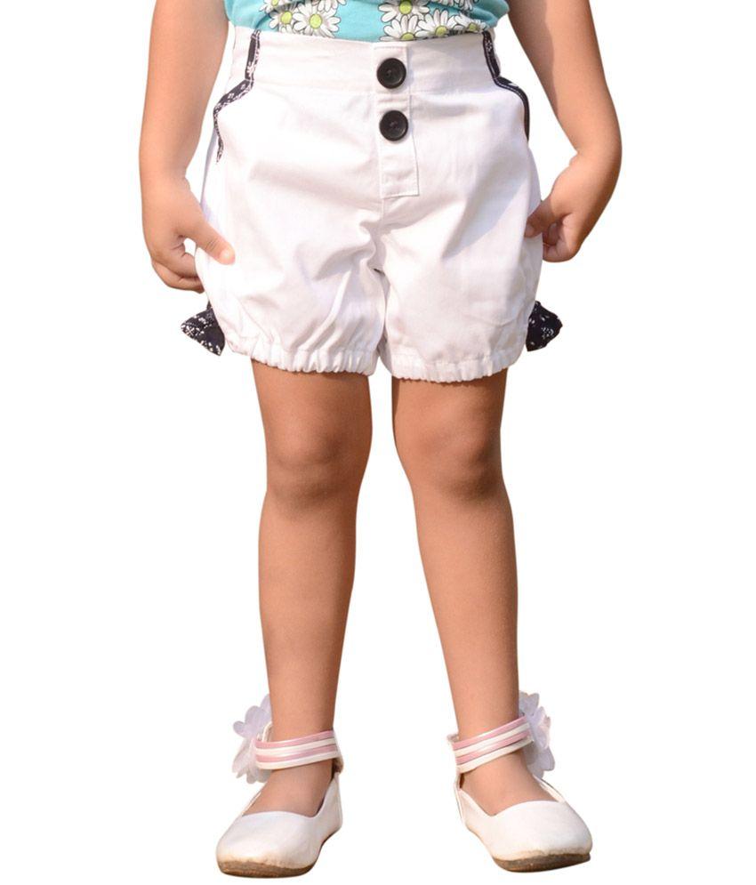 Snowflakes White Cotton Solid Shorts