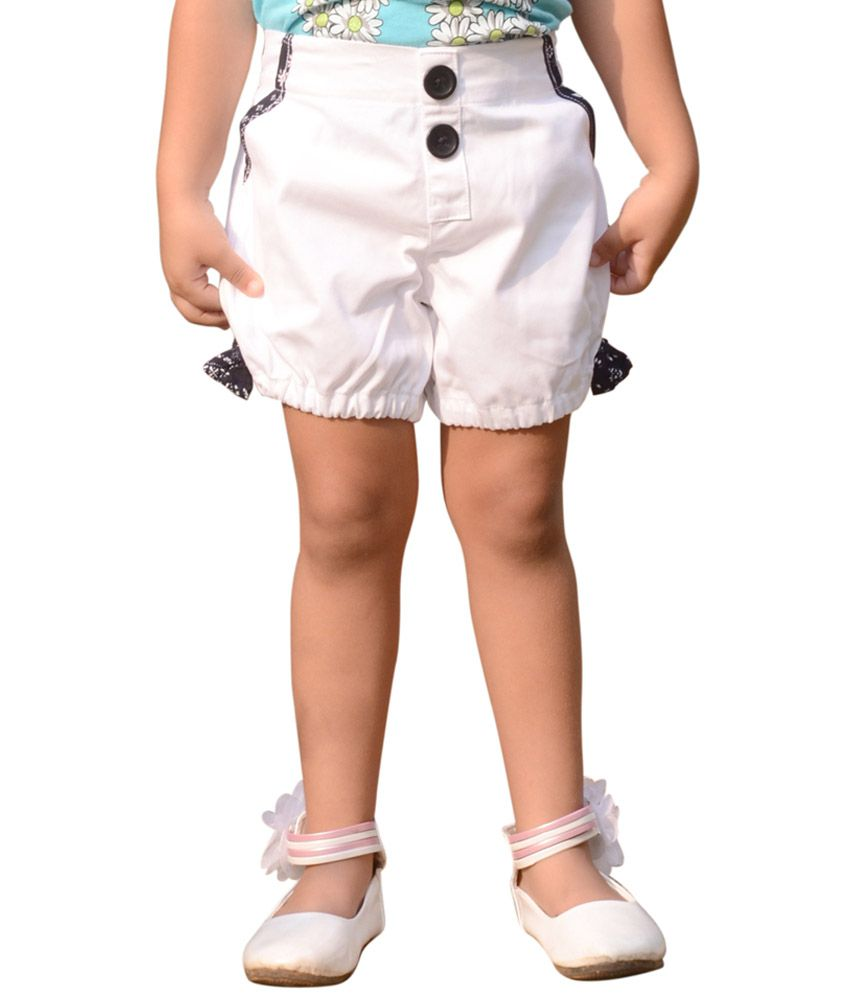 Snowflakes White Cotton Solid Shorts