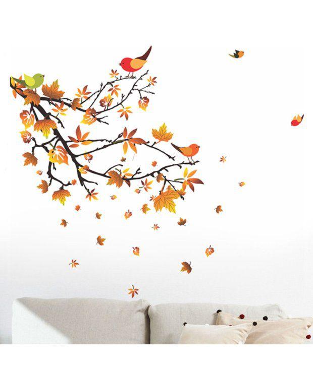 stickerskart wall stickers autumn leaves & birds 5798 (50x70 cms