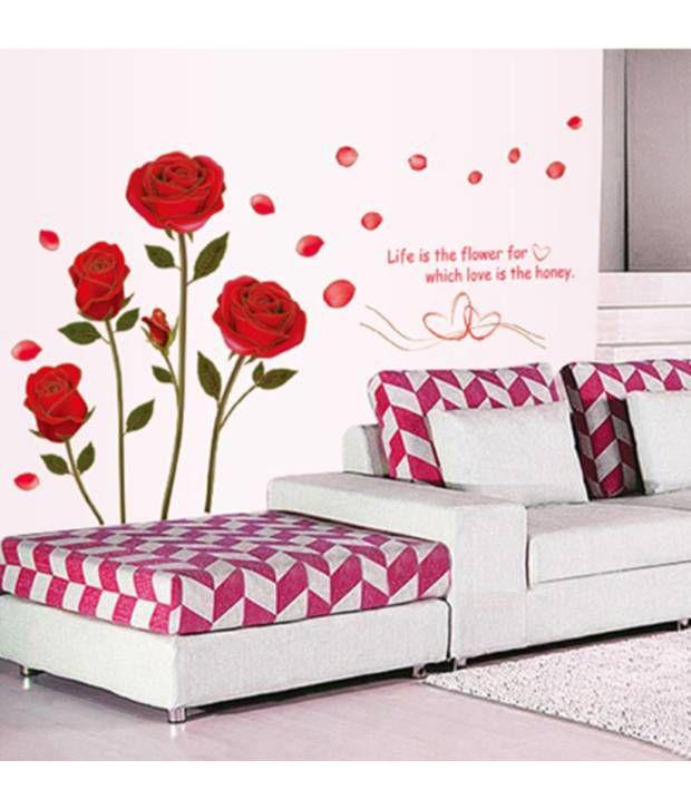 stickerskart wall stickers romantic rose flowers 6005 (50x70 cms