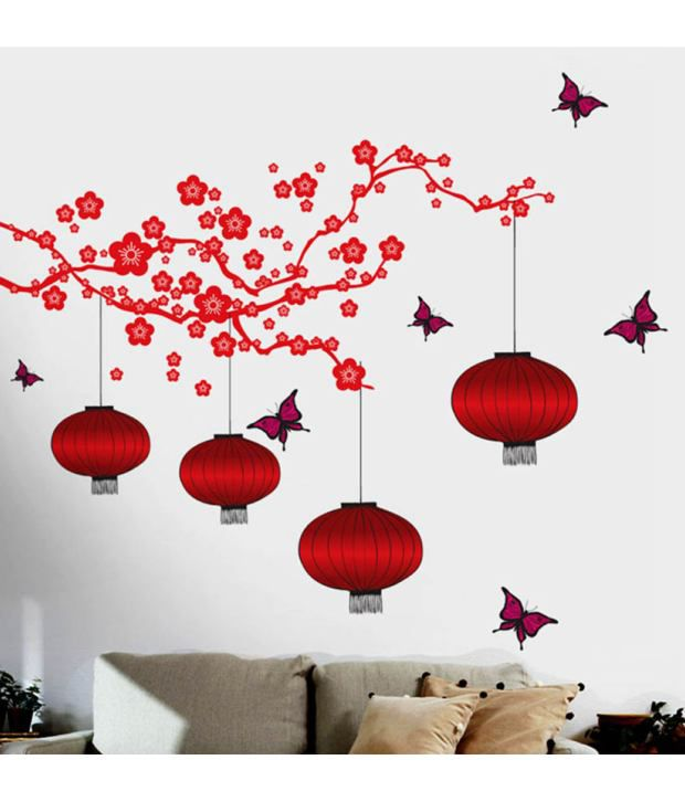 Stickerskart Wall Stickers Chinese Lamps In Red Double Sheet 6980 2x60x90 Cms