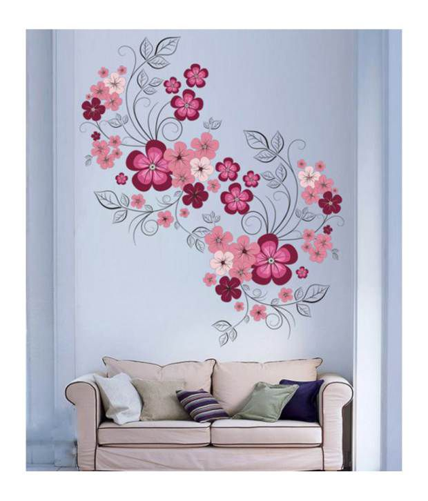stickerskart wall stickers pink flowers with black vine 7151 (60x90