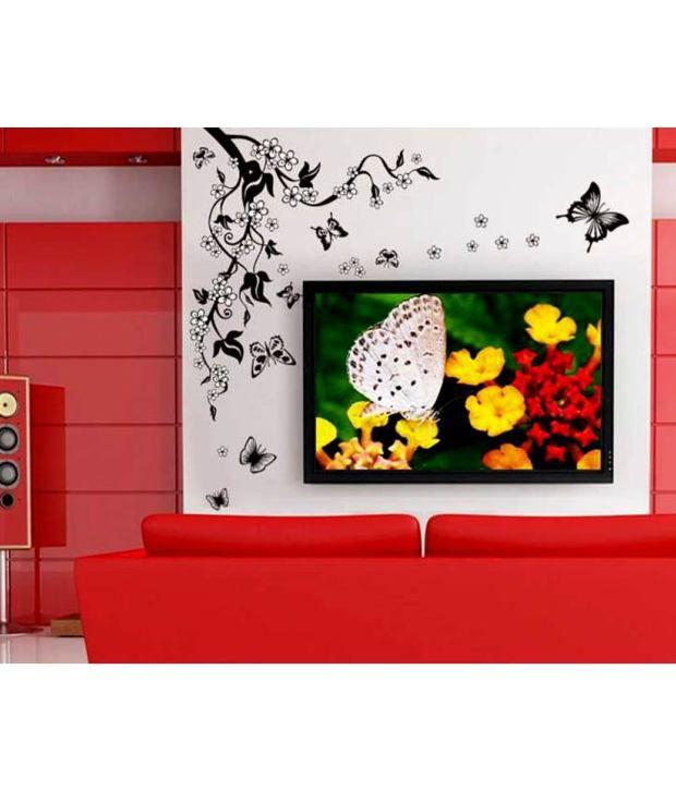 stickerskart wall stickers tv background black vine & butterflies