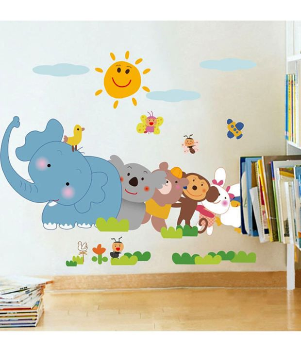 stickerskart wall stickers jungle cartoon cute animals 5705 (60x90