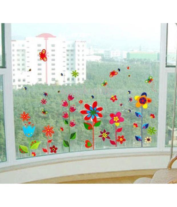 stickerskart wall stickers border design colorful fun flowers 9009