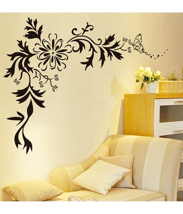 stickerskart wall stickers black lcd floral design 7032 (50x70 cms