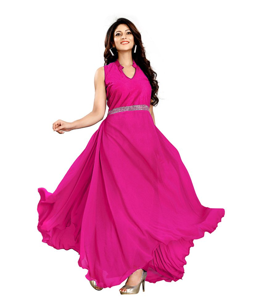 6f507ab60 Prachi Silk Mills Pink Georgette Party Wear Gown - Buy Prachi Silk Mills  Pink Georgette Party Wear Gown Online at Best Prices in India on Snapdeal