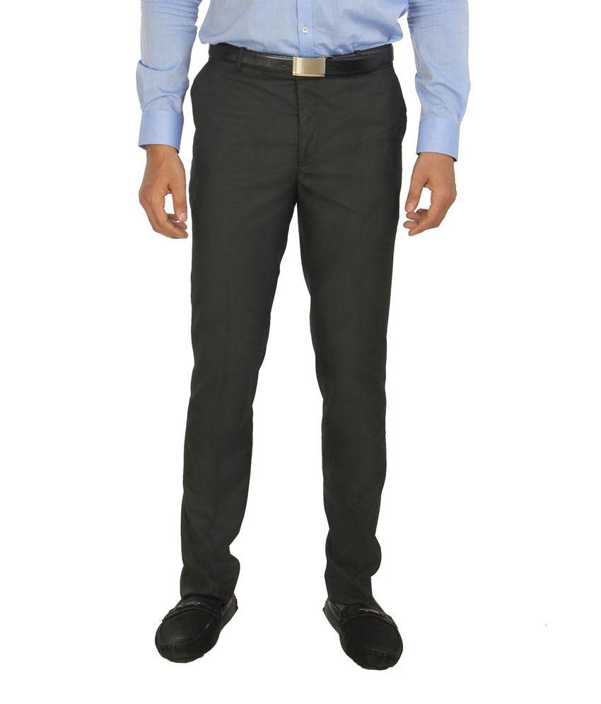 R- Marvins Gray Cotton Blend Slim Fit Flat Formal Trouser