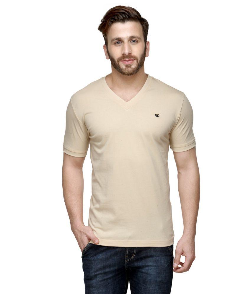 Dazzgear Beige Cotton V-Neck Half Sleeve T Shirt