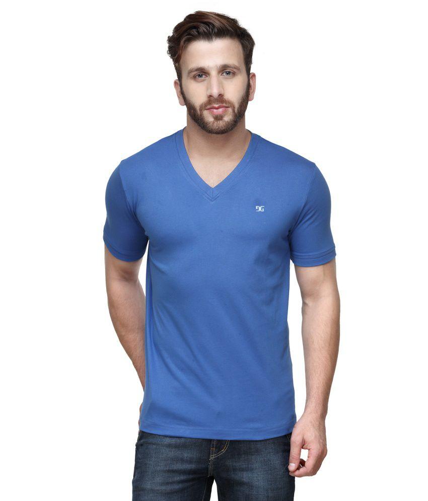 Dazzgear Blue Cotton V-Neck Half Sleeve T Shirt