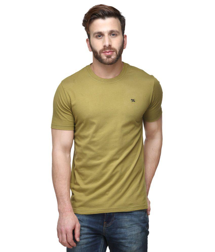 Dazzgear Khaki Cotton Round Neck Half Sleeve T Shirt